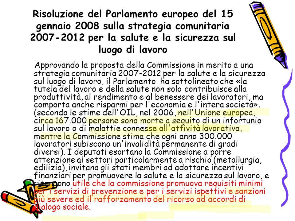 Risoluzione del Parlamento europeo del 15 gennaio 2008 sulla strategia comunitaria 2007-2012 per la salute e la sicurezza sul luogo di lavoro Approvan