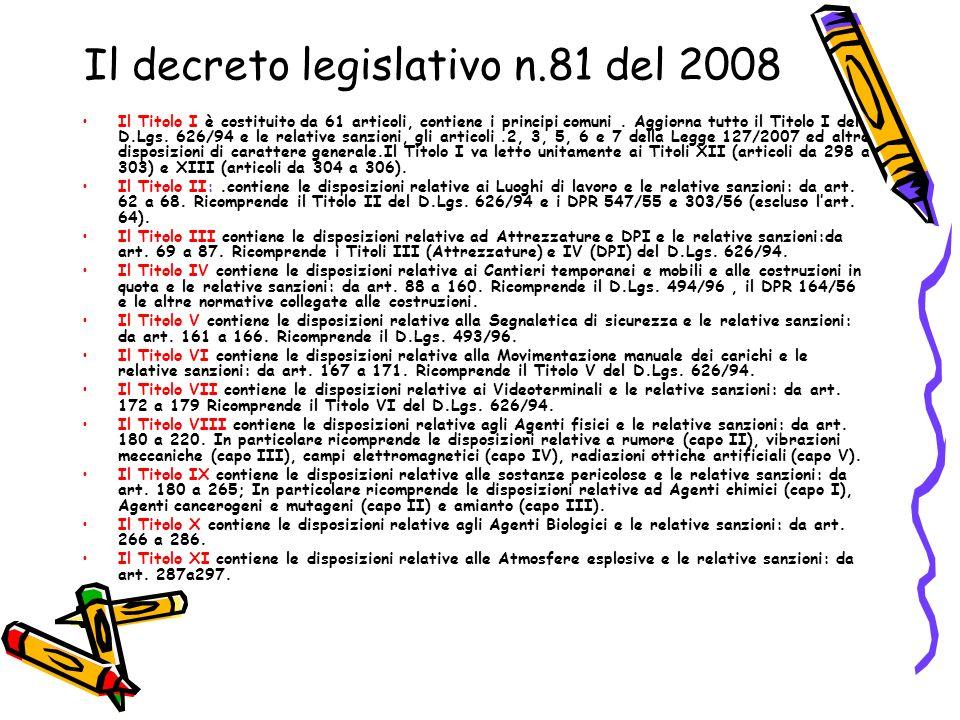 Il decreto legislativo n.81 del 2008 Il Titolo I è costituito da 61 articoli, contiene i principi comuni. Aggiorna tutto il Titolo I del D.Lgs. 626/94