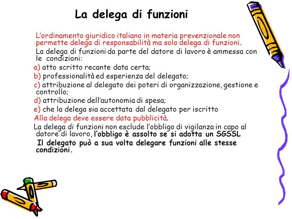 La delega di funzioni Lordinamento giuridico italiano in materia prevenzionale non permette delega di responsabilità ma solo delega di funzioni. La de