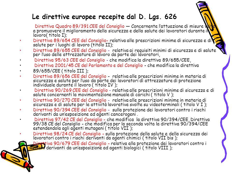 Le direttive europee recepite dal D. Lgs. 626 Direttiva Quadro 89/391 CEE del Consiglio Concernente lattuazione di misure volte a promuovere il miglio