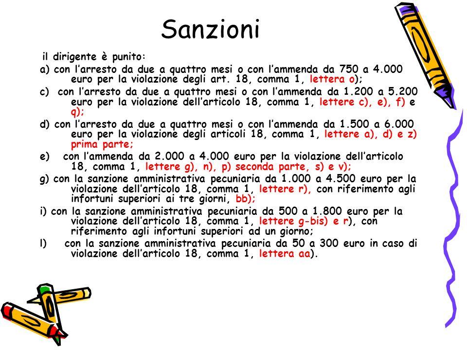 Sanzioni il dirigente è punito: a) con larresto da due a quattro mesi o con lammenda da 750 a 4.000 euro per la violazione degli art. 18, comma 1, let