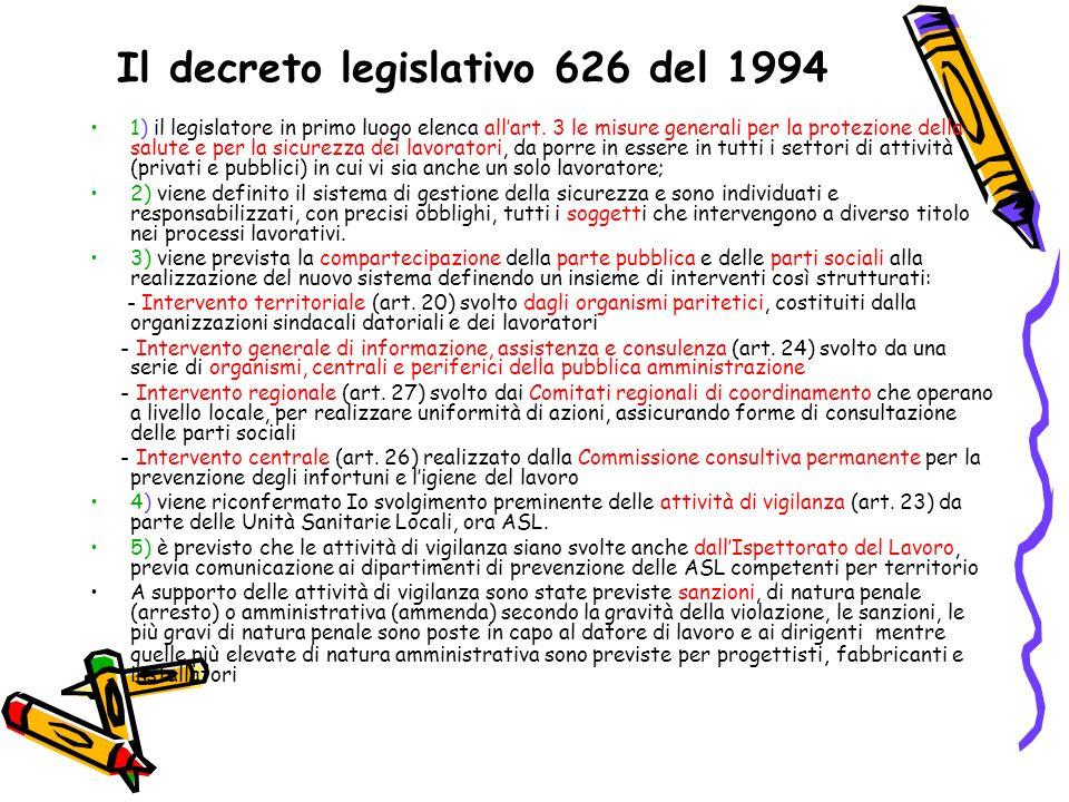 Il decreto legislativo 626 del 1994 1) il legislatore in primo luogo elenca allart. 3 le misure generali per la protezione della salute e per la sicur