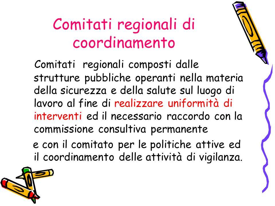 Comitati regionali di coordinamento Comitati regionali composti dalle strutture pubbliche operanti nella materia della sicurezza e della salute sul lu