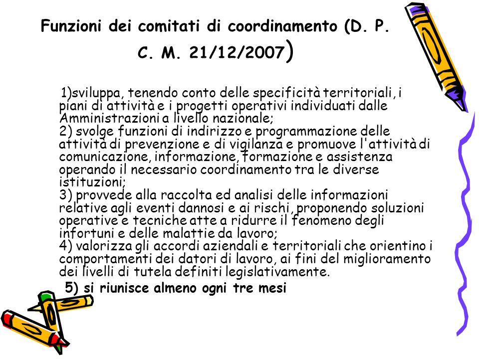 Funzioni dei comitati di coordinamento (D. P. C. M. 21/12/2007 ) 1)sviluppa, tenendo conto delle specificità territoriali, i piani di attività e i pro