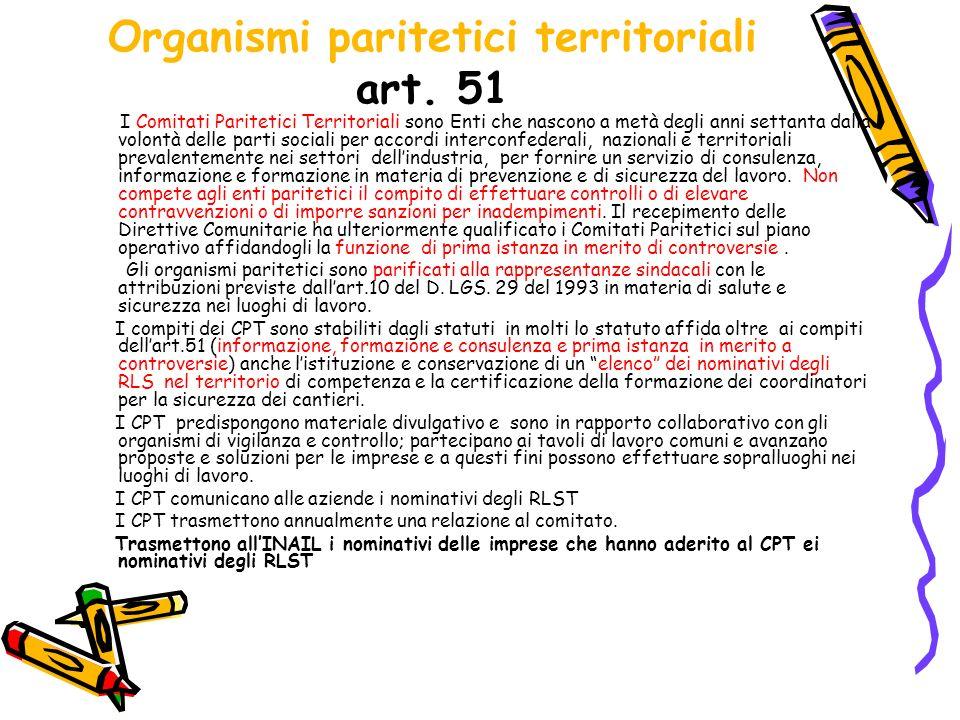 Organismi paritetici territoriali art. 51 I Comitati Paritetici Territoriali sono Enti che nascono a metà degli anni settanta dalla volontà delle part