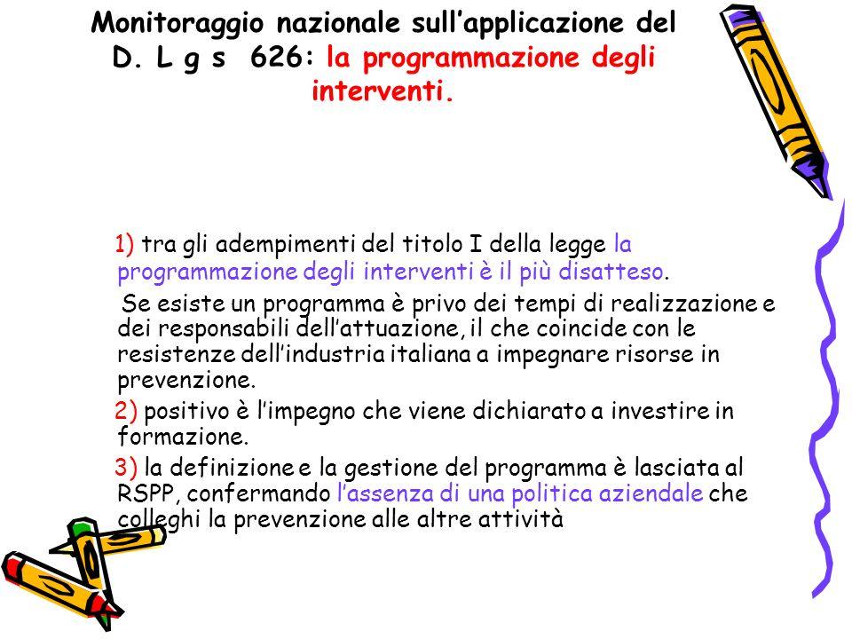 Monitoraggio nazionale sullapplicazione del D. L g s 626: la programmazione degli interventi. 1) tra gli adempimenti del titolo I della legge la progr