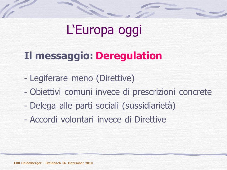 LEuropa oggi Il messaggio: Deregulation - Legiferare meno (Direttive) - Obiettivi comuni invece di prescrizioni concrete - Delega alle parti sociali (sussidiarietà) - Accordi volontari invece di Direttive EBR Heidelberger – Steinbach 16.