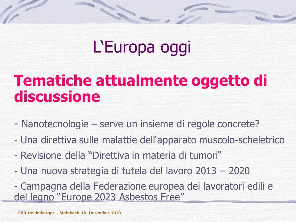 LEuropa oggi Tematiche attualmente oggetto di discussione - Nanotecnologie – serve un insieme di regole concrete.