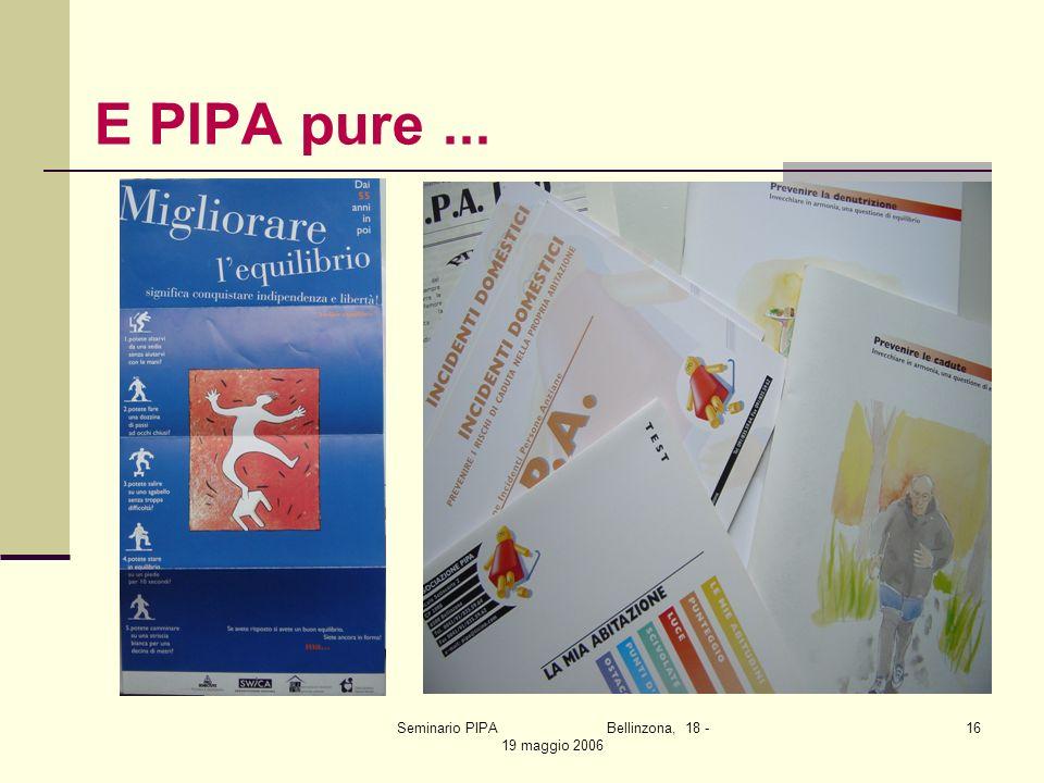 Seminario PIPA Bellinzona, 18 - 19 maggio 2006 16 E PIPA pure...