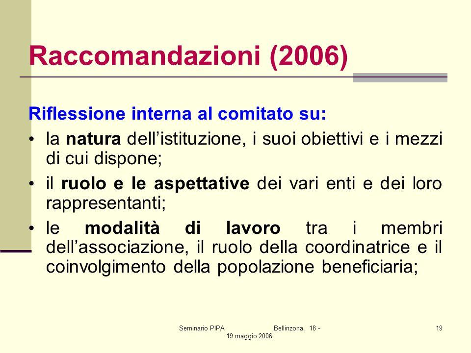Seminario PIPA Bellinzona, 18 - 19 maggio 2006 19 Raccomandazioni (2006) Riflessione interna al comitato su: la natura dellistituzione, i suoi obietti