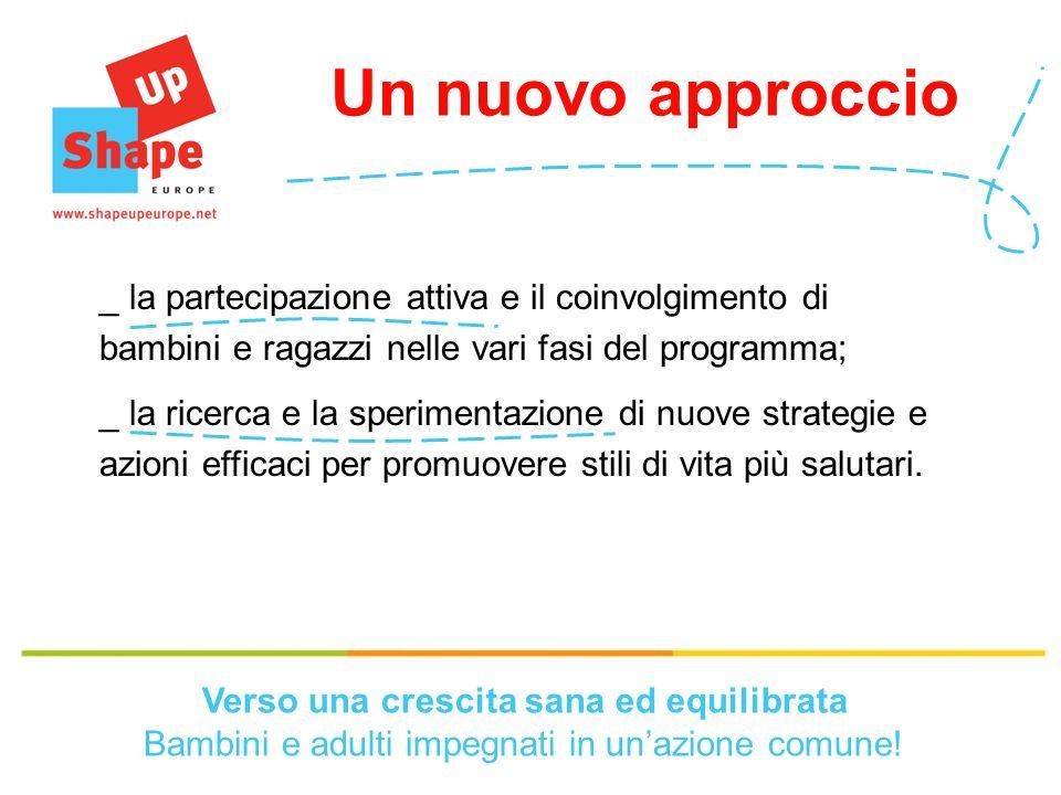 Un nuovo approccio _ la partecipazione attiva e il coinvolgimento di bambini e ragazzi nelle vari fasi del programma; _ la ricerca e la sperimentazione di nuove strategie e azioni efficaci per promuovere stili di vita più salutari.