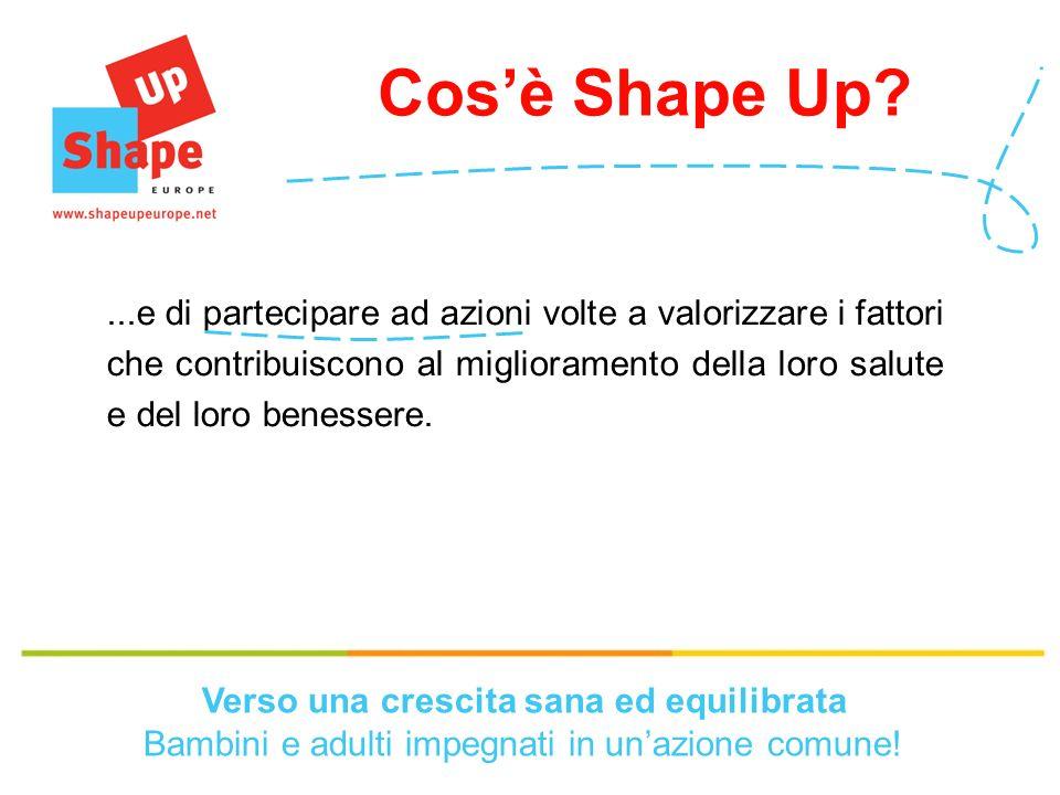 Le scuole Shape Up Il programma europeo concentra la propria attenzione sulle scuole e sulle attività da loro sviluppate e proposte.