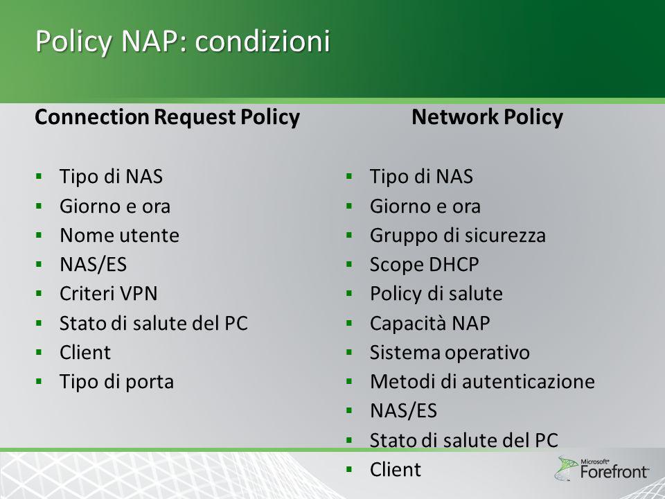 Policy NAP: condizioni Connection Request Policy Tipo di NAS Giorno e ora Nome utente NAS/ES Criteri VPN Stato di salute del PC Client Tipo di porta N