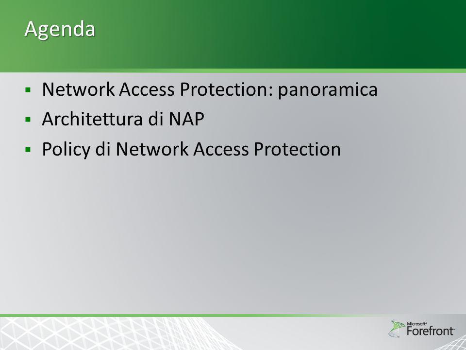 Network Access Protection: scenari Scenario: Richiesta di bitlocker (FCSv2) e registrazione della conformità alle policy di patch per accessi DA CRP – per ora, giorno e locazione dellutente NP – per tipo di HRA del NAS gruppo di appartenenza del PC, le health policy richiedono SHV di FCS e SCCM Forzatura – Accesso pieno via DirectAccess richiede certificati di salute Scenario: Pubblicazione di HRA su internet per registrare la conformità alle policy senza forzare IPsec CRP – a per ora, giorno e locazione dellutente NP – per tipo di HRA del NAS, le health policy richiedono WSHV con tutte le opzioni