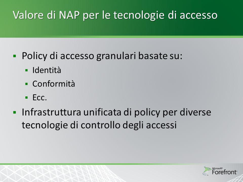 Valore di NAP per le tecnologie di accesso Policy di accesso granulari basate su: Identità Conformità Ecc. Infrastruttura unificata di policy per dive