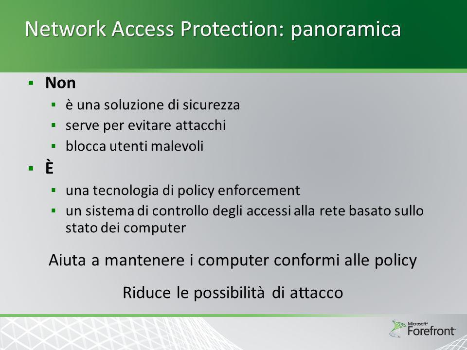 Network Access Protection: panoramica Non è una soluzione di sicurezza serve per evitare attacchi blocca utenti malevoli È una tecnologia di policy en