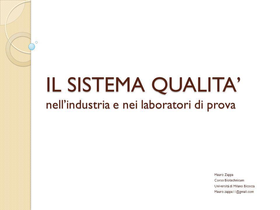 IL SISTEMA QUALITA nellindustria e nei laboratori di prova Mauro Zappa Corso Biotechnicum Università di Milano Bicocca Mauro.zappa11@gmail.com