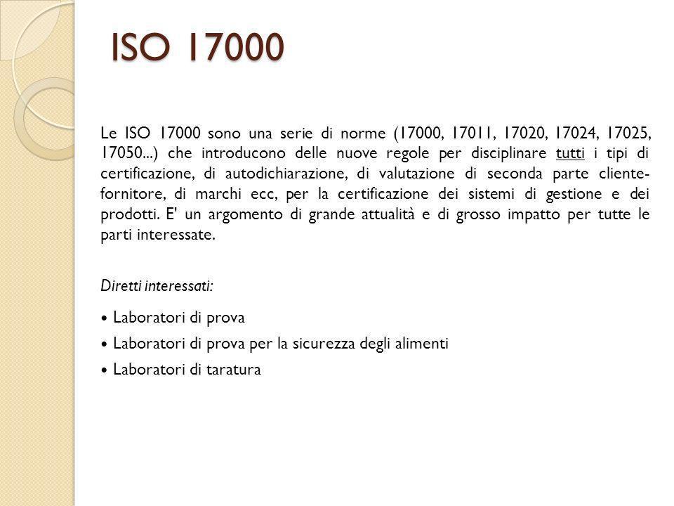 ISO 17000 Le ISO 17000 sono una serie di norme (17000, 17011, 17020, 17024, 17025, 17050...) che introducono delle nuove regole per disciplinare tutti