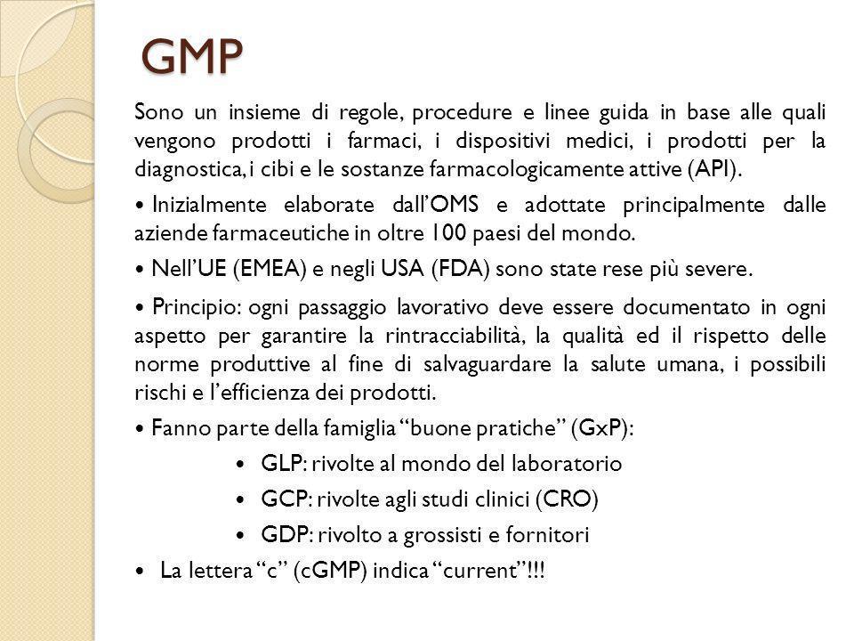 GMP Sono un insieme di regole, procedure e linee guida in base alle quali vengono prodotti i farmaci, i dispositivi medici, i prodotti per la diagnost