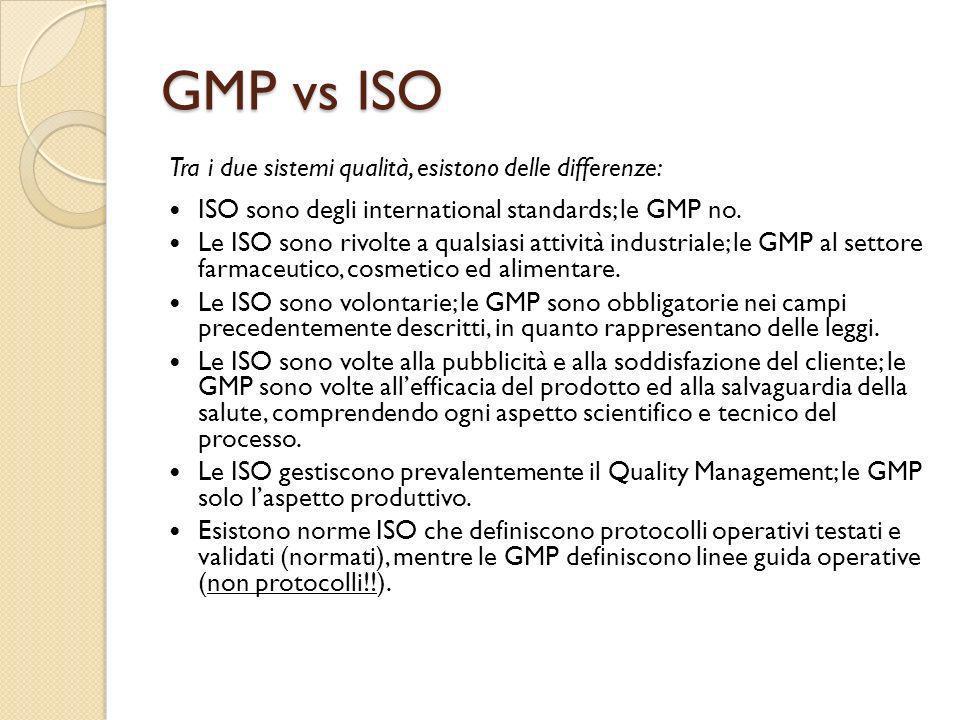 Tra i due sistemi qualità, esistono delle differenze: ISO sono degli international standards; le GMP no. Le ISO sono rivolte a qualsiasi attività indu