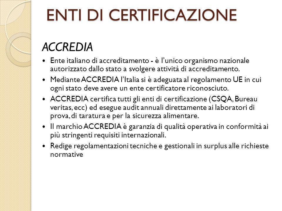 ENTI DI CERTIFICAZIONE ACCREDIA Ente italiano di accreditamento - è lunico organismo nazionale autorizzato dallo stato a svolgere attività di accredit