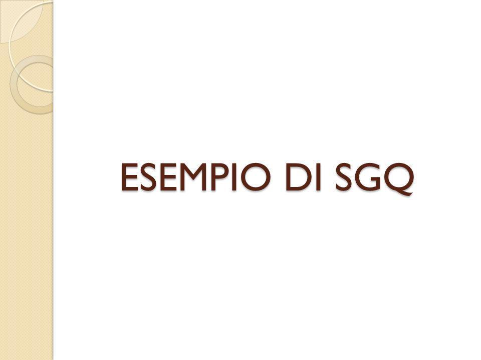 ESEMPIO DI SGQ