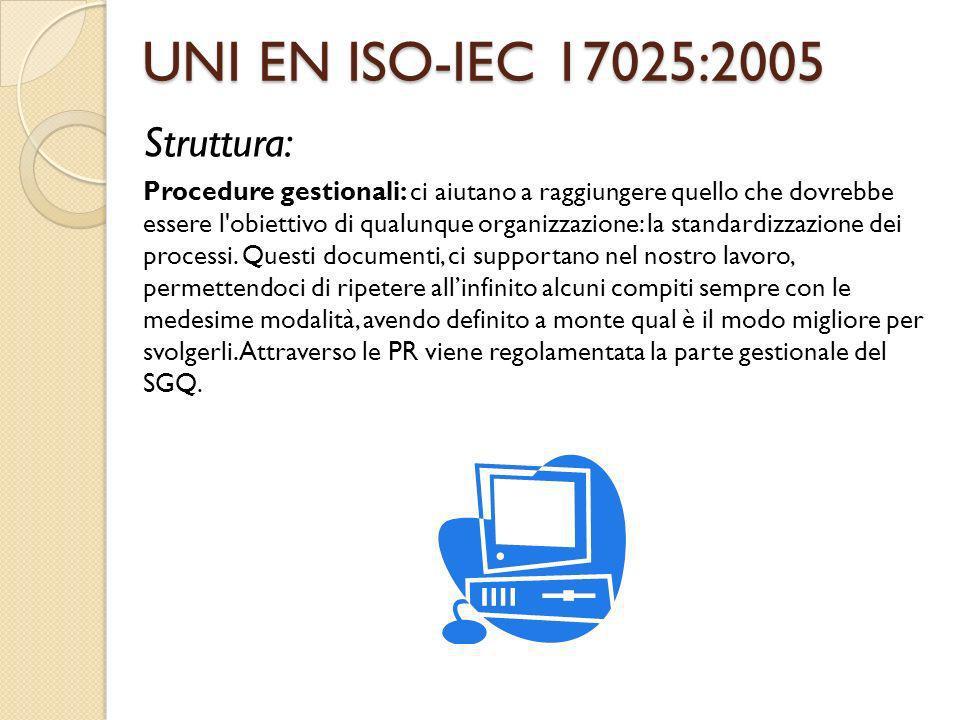 UNI EN ISO-IEC 17025:2005 Struttura: Procedure gestionali: ci aiutano a raggiungere quello che dovrebbe essere l'obiettivo di qualunque organizzazione