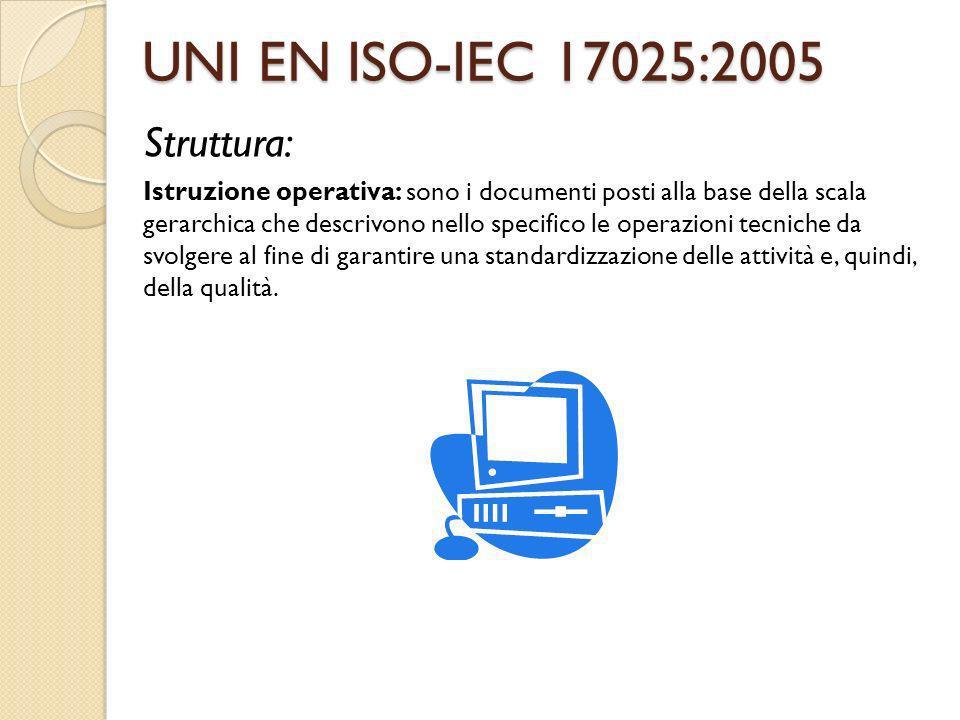 UNI EN ISO-IEC 17025:2005 Struttura: Istruzione operativa: sono i documenti posti alla base della scala gerarchica che descrivono nello specifico le o