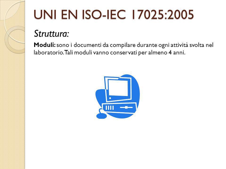 UNI EN ISO-IEC 17025:2005 Struttura: Moduli: sono i documenti da compilare durante ogni attività svolta nel laboratorio. Tali moduli vanno conservati