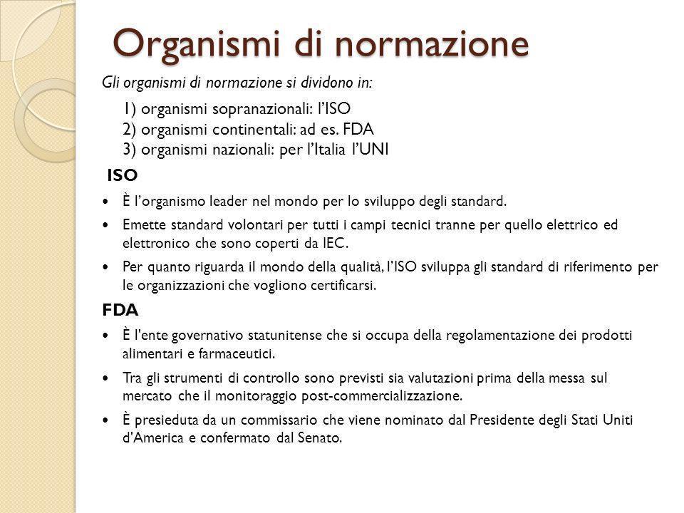 Organismi di normazione Gli organismi di normazione si dividono in: 1) organismi sopranazionali: lISO 2) organismi continentali: ad es. FDA 3) organis
