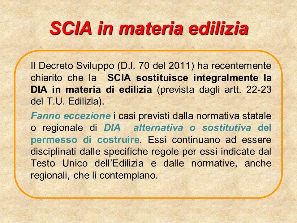 SCIA in materia edilizia Il Decreto Sviluppo (D.l.