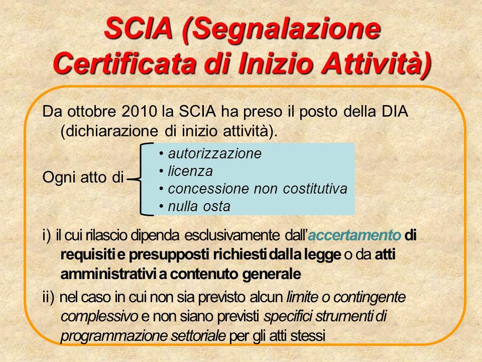 SCIA (Segnalazione Certificata di Inizio Attività) Da ottobre 2010 la SCIA ha preso il posto della DIA (dichiarazione di inizio attività).