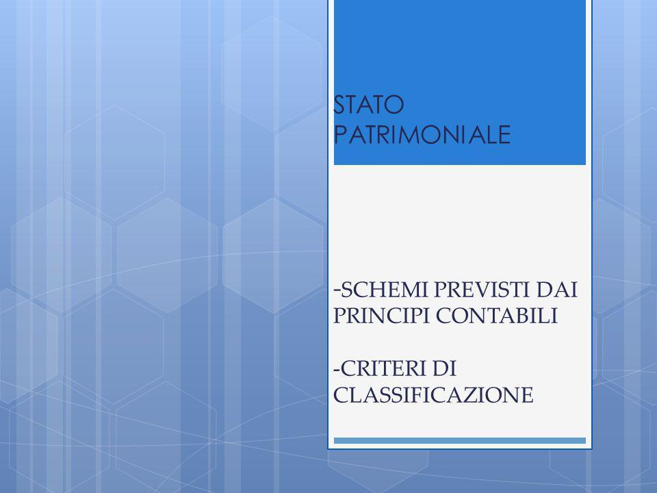 STATO PATRIMONIALE - SCHEMI PREVISTI DAI PRINCIPI CONTABILI -CRITERI DI CLASSIFICAZIONE