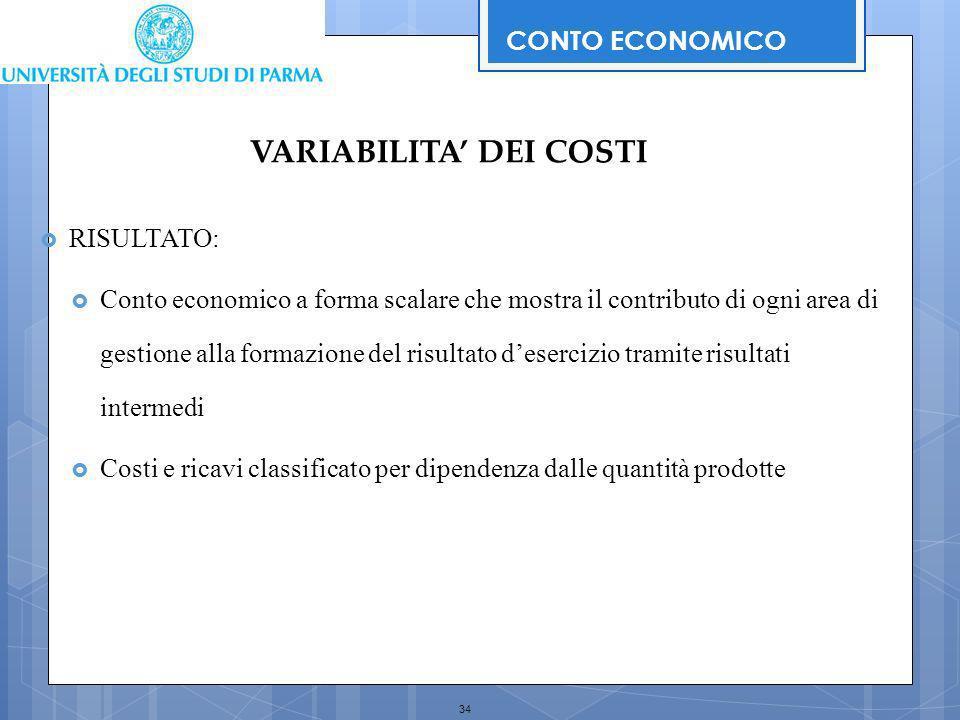34 RISULTATO: Conto economico a forma scalare che mostra il contributo di ogni area di gestione alla formazione del risultato desercizio tramite risul
