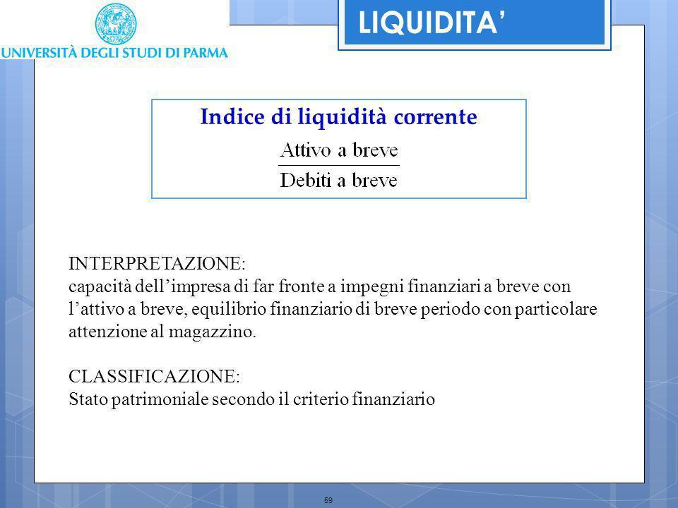 59 Indice di liquidità corrente INTERPRETAZIONE: capacità dellimpresa di far fronte a impegni finanziari a breve con lattivo a breve, equilibrio finan