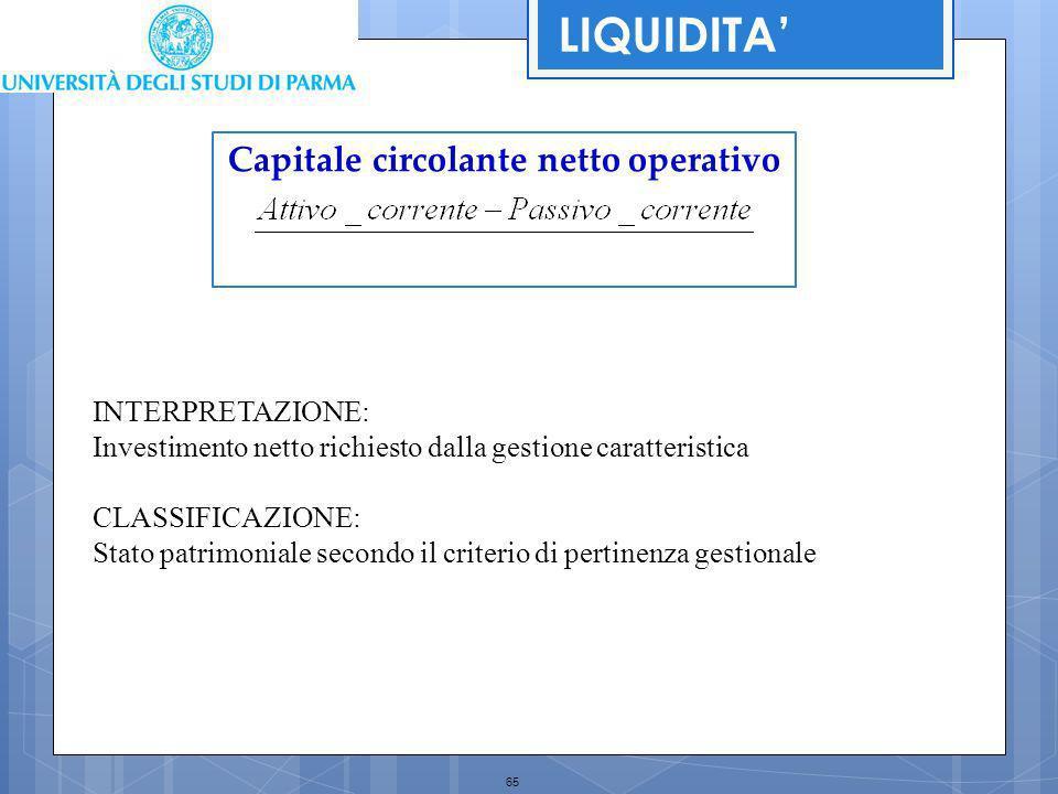 65 Capitale circolante netto operativo INTERPRETAZIONE: Investimento netto richiesto dalla gestione caratteristica CLASSIFICAZIONE: Stato patrimoniale