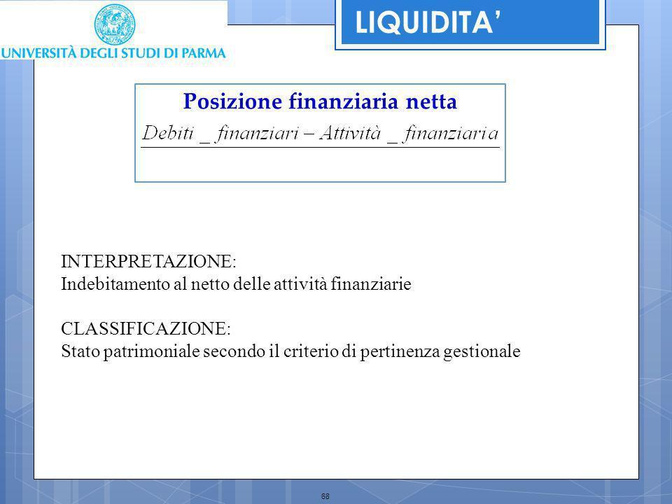 68 Posizione finanziaria netta INTERPRETAZIONE: Indebitamento al netto delle attività finanziarie CLASSIFICAZIONE: Stato patrimoniale secondo il crite