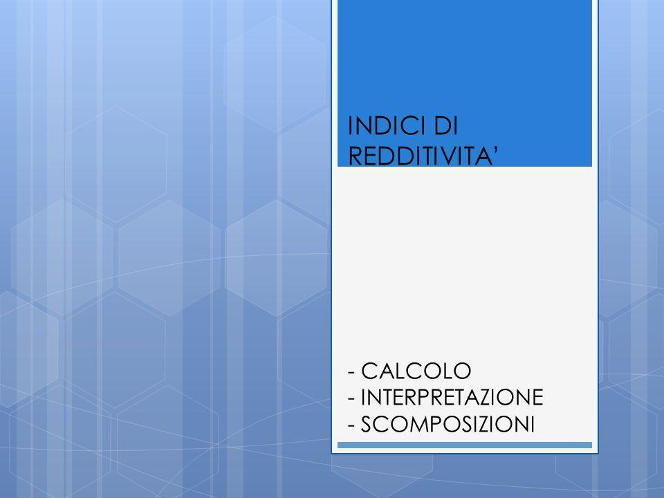 INDICI DI REDDITIVITA - CALCOLO - INTERPRETAZIONE - SCOMPOSIZIONI