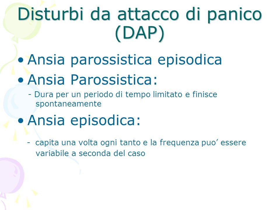 Disturbi da attacco di panico (DAP) Ansia parossistica episodica Ansia Parossistica: - Dura per un periodo di tempo limitato e finisce spontaneamente
