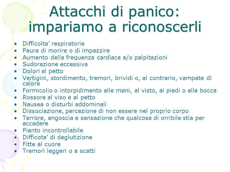 Attacchi di panico: impariamo a riconoscerli Difficolta respiratorie Paura di morire o di impazzire Aumento della frequenza cardiaca e/o palpitazioni