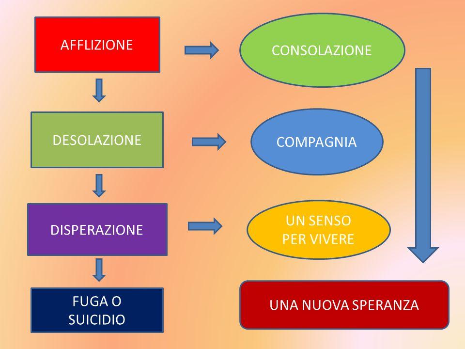 AFFLIZIONE DESOLAZIONE DISPERAZIONE CONSOLAZIONE COMPAGNIA UN SENSO PER VIVERE FUGA O SUICIDIO UNA NUOVA SPERANZA