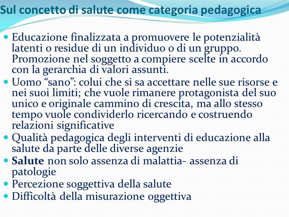Sul concetto di salute come categoria pedagogica Educazione finalizzata a promuovere le potenzialità latenti o residue di un individuo o di un gruppo.