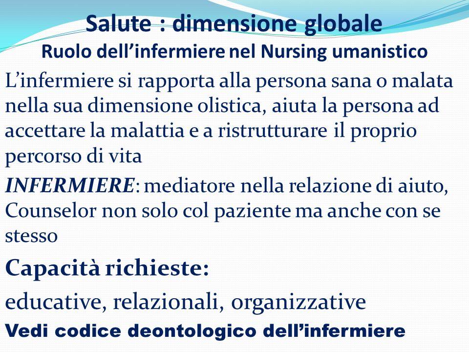 Salute : dimensione globale Ruolo dellinfermiere nel Nursing umanistico Linfermiere si rapporta alla persona sana o malata nella sua dimensione olisti