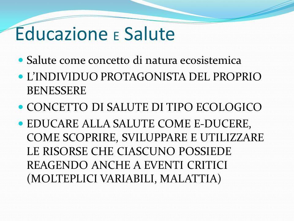 Educazione E Salute Salute come concetto di natura ecosistemica LINDIVIDUO PROTAGONISTA DEL PROPRIO BENESSERE CONCETTO DI SALUTE DI TIPO ECOLOGICO EDU