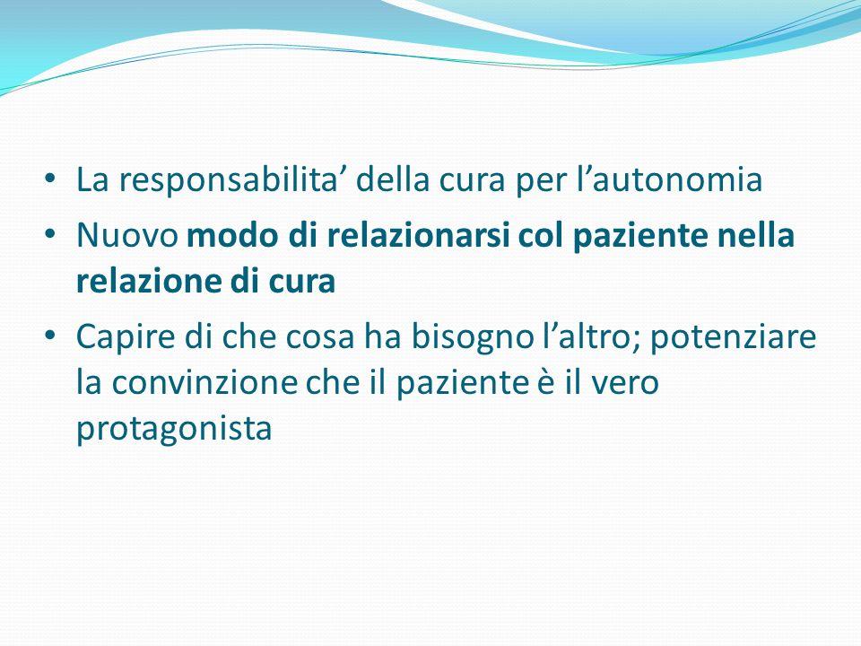 La responsabilita della cura per lautonomia Nuovo modo di relazionarsi col paziente nella relazione di cura Capire di che cosa ha bisogno laltro; pote