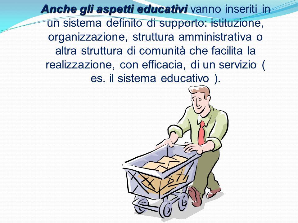 Anche gli aspetti educativi Anche gli aspetti educativi vanno inseriti in un sistema definito di supporto: istituzione, organizzazione, struttura ammi