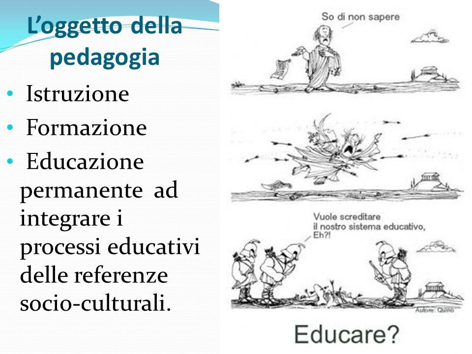 Loggetto della pedagogia Istruzione Formazione Educazione permanente ad integrare i processi educativi delle referenze socio-culturali.