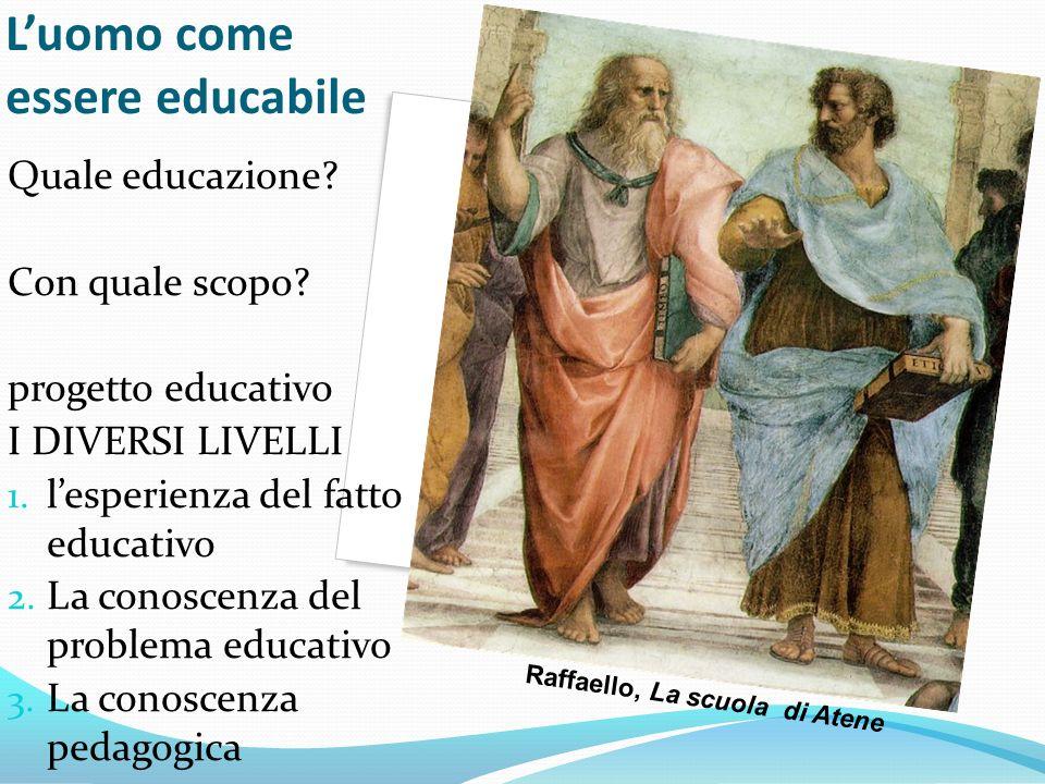 Luomo come essere educabile Quale educazione? Con quale scopo? progetto educativo I DIVERSI LIVELLI 1. lesperienza del fatto educativo 2. La conoscenz