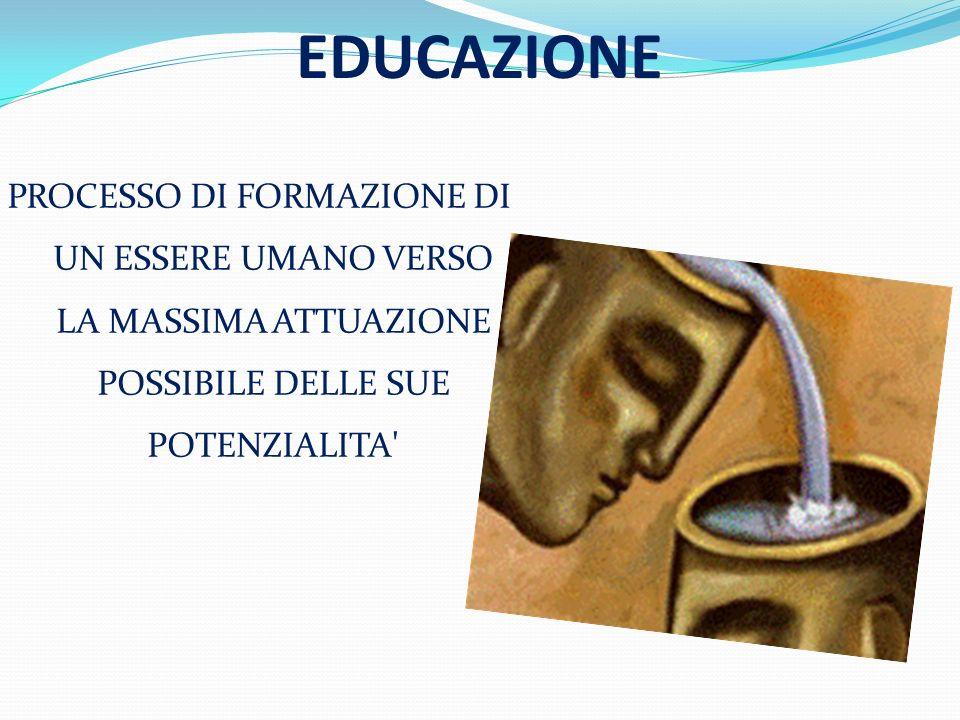 EDUCAZIONE PROCESSO DI FORMAZIONE DI UN ESSERE UMANO VERSO LA MASSIMA ATTUAZIONE POSSIBILE DELLE SUE POTENZIALITA'