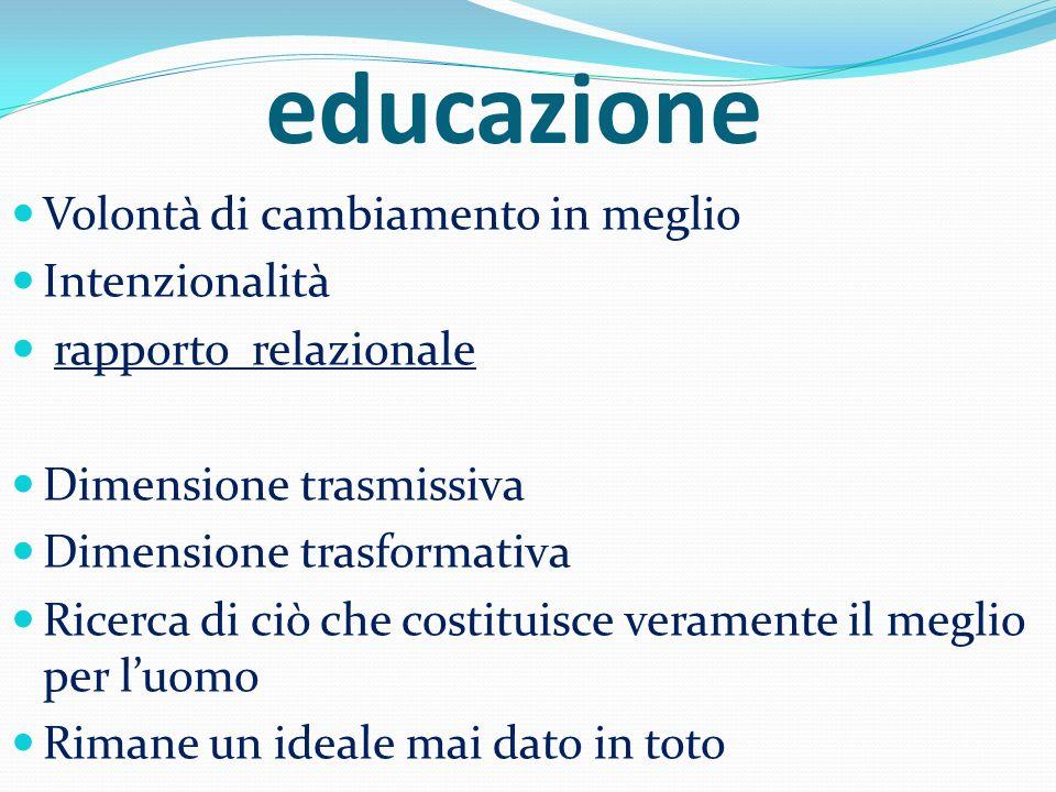educazione Volontà di cambiamento in meglio Intenzionalità rapporto relazionale Dimensione trasmissiva Dimensione trasformativa Ricerca di ciò che cos